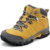 Clorts Women's Classic Hiking Boots Waterproof Suede Leather Lightweight Hiking Shoes Yellow US Women Size 7.5 Medium Width