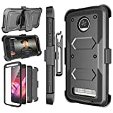 NJJEX Moto Z2 Play Case, for Moto Z2 Force Case, [Nbeck] Shockproof Heavy Duty Built-in Screen Protector Rugged Holster Locking Belt Swivel Clip Kickstand Hard Shell Cover for Moto Z2 Play [Black]