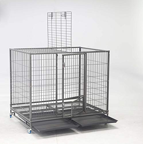 Homey Pet-49 Extra Large Heavy Duty Metal Dog Cage w/Plastic Floor Grid, Casters, Pull Out Tray and Feeding Door: L 49' x W 37' x H44