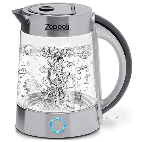 Zeppoli Electric Kettle (BPA Free) - Fast Boiling Glass Tea...
