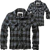 Brandit Carreaux Chemise Hommes Coton Chemise - Noir-Gris, XL