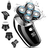 Head Shaver for Men, 5 in 1 Electric Shavers for Bald Mens Beard Trimmer Grooming Kit IPX7-Waterproof,Faster-Charging,LED Display USB Rechargeable Rotary Razor