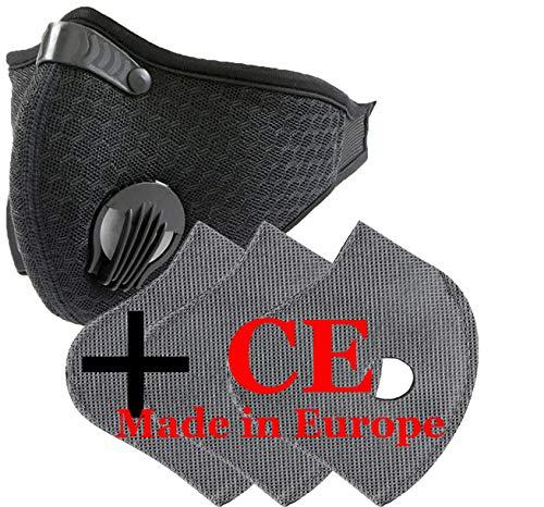 4sold - Set maschera viso antipolvere con 3 filtri, 5 strati per filtro, unisex, antipolvere, per la corsa, ciclismo,...
