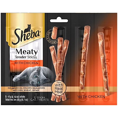 6-Bags-of-Sheba-Meaty-Tender-Sticks-with-Chicken-Cat-Treats-07-Oz-5-Treats-in-ea-Bag