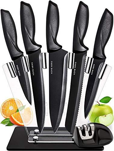 Set Coltelli Da Cucina Professionali - 7 Pezzi Acciaio Inossidabile Nero Coltello Da Cucina con Ceppo Coltelli Acrilico - Professional Kitchen Knife Set with Block Kitchen Knives Chef Knife