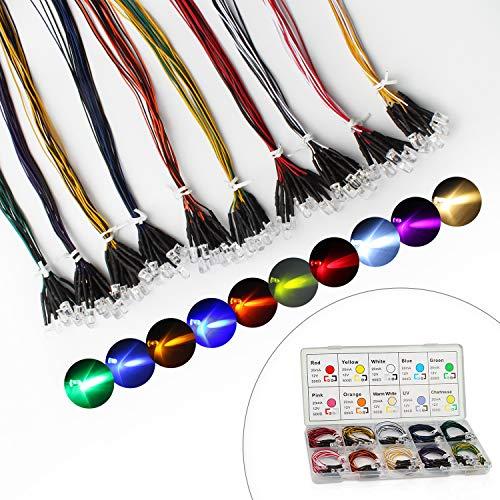 DiCUNO 100 pezzi (10 colori 10 pezzi) Diodi LED Pre-cablato da 5 mm Luce 12V 24cm Pre Wired diodi...