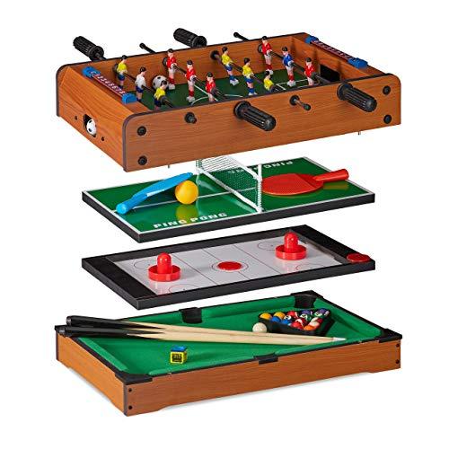 Relaxdays, Tavolo Multigioco, 4 in 1, Biliardino, Ping Pong, Hockey & Biliardo, Bambini & Adulti, Multiuso, Marrone, Colore Effetto Legno, 10023514
