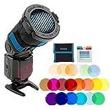 Griglia per flash Rogue 3-in-1 + Kit filtri combo con gelatine per griglia Rogue (20 colori)