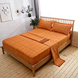 Mengersi Simple Sheet Set - Luxury Hotel Bed Sheets - Extra Soft - Deep Pockets - 1 Fitted Sheet, 1 Flat, 2 Pillow Cases - 4 Piece (Queen, Orange Grid)