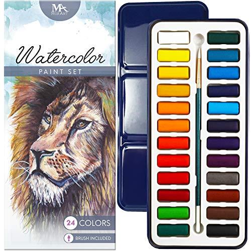 MozArt Supplies – Aquarellfarbenset - 24 kräftige Farben – Leicht und tragbar – Perfekt für Hobbymaler und Profis – Mit Pinsel