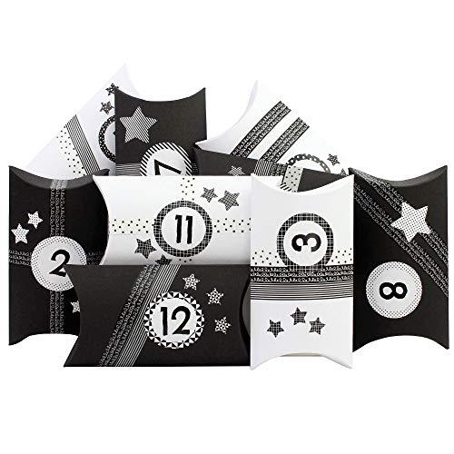 PaPIerDraCHeN 24 scatole Pillowbox del Calendario dell'Avvento - con Washitape e Adesivi con Numeri in Bianco e Nero - 24 scatole di Cartone a Forma di Cuscino - da riempire e disegnare.