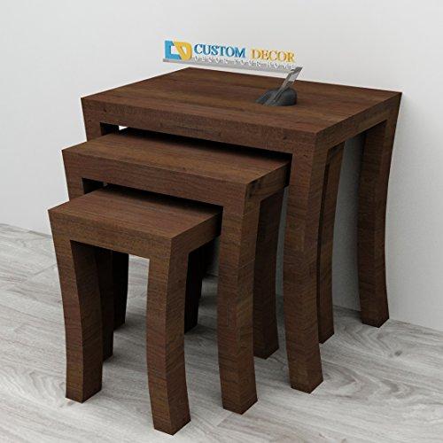 Custom Decor Elmora Brown Solid Wooden Nesting Tables Set of 3 - Walnut Finish
