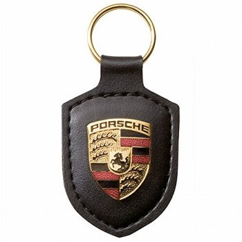 Porsche Original Key Fob Black Leather with Metal Colour Crest in Presentation Box
