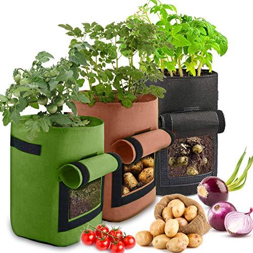 Bolsas de cultivo de patatas, ZAHRVIA, paquete de 3, 10 bols