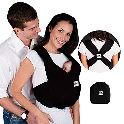 Baby K'tan Original Baby Wrap Carrier, Infant and Child Sling - Simple Pre-Wrapped Holder for Babywearing - No Tying or Rings - Carry Newborn up to 35 lbs, Black, Women 6-8 (Small), Men 37-38