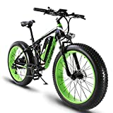 Cyrusher XF800 750W Electric Bike 264 Fat Tire Mountain Ebikes 7 Speeds Snow Beach Electric Bicycles with 13ah Battery (Green)