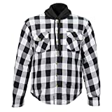 Hot Leathers Black and White Hooded Armored Flannel Jacket(WHT/BLK, L)