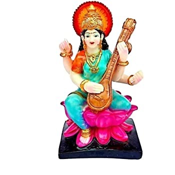 Buy Krishnagallery1 Saraswati Mata Murti Marble Idol Statue For Pooja 8 Inch Multicolour Online At Low Prices In India Amazon In