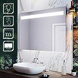 SIRHONA Miroir Mural Salle Bain Anti-Buée 100x70cm Miroir Lumineux LED...