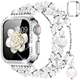 Goton Compatible for Apple Watch Band 38mm, Women Girls Handmade Natural Agate Pearl Bracelet Strap Crystal Pearl Elastic Replacement Watchband for iWatch Bands Series 3/2/1 (White, 38mm)