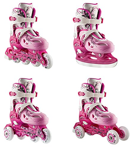 4in1Regolabile pattini in linea pattini Triskates pattini Nils nh0320a rosa misura 3138, rosa/bianco, 35-38 verstellbar
