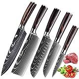 KEPEAK Couteau de Cuisine, Couteaux de Cuisine Tranchants en...