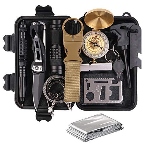 TRSCIND Survival Gear Kits 13-in-1 Outdoor Emergency SOS...