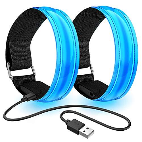 lanpard Led Armband Aufladbar, 2 STK Leuchtarmband USB Reflektorband Reflective Band Led Armbänder...