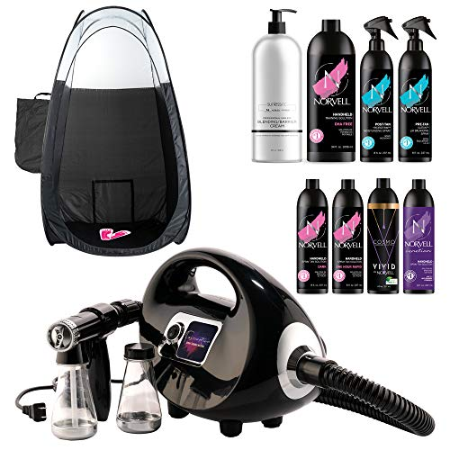 Fascination Spray Tan Machine System with Norvell Airbrush Tanning Solution Sunless Pro Kit Bundle with Disposable Spa Feet and Black Pop Up Tent