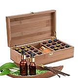 Caja de Bambú de Almacenamiento de Aceite Esencial de 25 Ranuras - Almacenamiento 5 a 10 ml de...