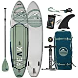 Peak Expedition Inflatable Stand Up Paddle Board — Durable Lightweight Touring SUP with Stable Wide Stance — 10'6' or 11' Long x 32' Wide x 6' Thick (Moss, 11')