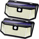 Aootek 182 Led Solar outdoor motion sensor lights upgraded Solar Panel to 15.3 in2 and 3 modes(Security/ Permanent On all night/ Smart brightness control )with IP65 Waterproof with Wide Angle(2pack)
