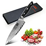 SHAN ZU Couteau de Cuisine Damas 20cm, Couteau de Chef...