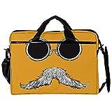 Mochila unisex para ordenador portátil, ligera, bolsa de viaje de lona, 13.4-14.5 pulgadas, con hebillas, gafas de bigote amarillas