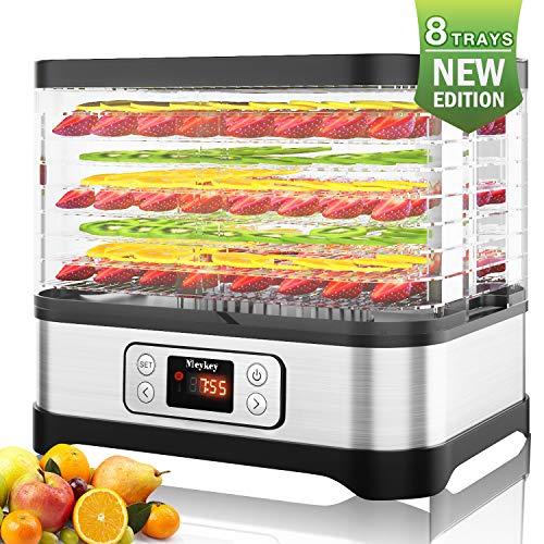 Rendio Dörrautomat mit Temperaturregler, Dörrgerät für Lebensmittel, Fleisch Frucht Gemüsetrockner, Obst-Trockner, Dehydrator, BPA-frei, 400W(8 Etagen/LCD)
