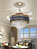 Orillon Contemporary Chic Crystal Chandelier Fan Indoor Luxury Hiding Quiet 42 Inch Polished Gold Retractable Ceiling Fan Light Reversible LED 3 Color Setting, Dual Control-Remote and Wall Control