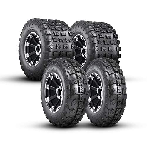 OBOR Advent Set of 4 Sport ATV Tires 21x7-10 Front & 20x11-9 Rear Tires 6PR Suitable for XC, Hard-pack, Intermediate, Loose Loam, Sand, Mud Terrain, Tubeless (Rims NOT included)