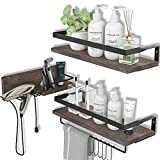 LYNNC 3 in 1 Rustic Floating Shelves, Decorative Storage Shelves with Towel Bar, Wall Mounted...