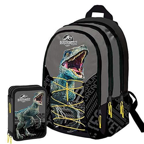 Jurassic World Schoolpack Zaino Scuola Organizzato 3 Cerniere pi Astuccio 3 Zip Completo di Cancelleria