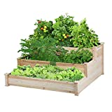 Yaheetech 3 Tier Wooden Raised Garden Bed Elevated Planter Box Kit Outdoor Solid Wood 49''x49''x21.9''