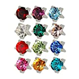 Studex Surgical Steel 3mm Regular Size Ear Piercing Earrings Studs in Prong Style Setting, 12 Pair Mixed Colors White Metal