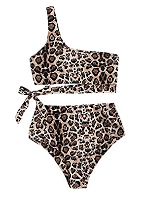 82% Polyester, 18% Spandex Sexy, leopard printed, belted waist, one shoulder bra,high waist bottom,two pieces bikini sets. Sexy bikini for girls and women, make you charming in summer. Perfect for vacations, summer, beach, pool parties, swimming. Ple...
