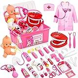 Fivejoy 43 Teile Arztkoffer Kinder, Doktorkoffer Kinder Rollenspiel Spielzeug Mit Rosa Arztkittel Und Puppe, Doktor-Spiel-Set Medizinischer Koffer Für Mädchengeschenke Im Alter Von 3 Jahren (Rosa)