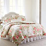 BrylaneHome Brianna Cabbage Rose Comforter - Queen, Taupe Floral Multi