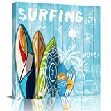 Canvas Print Wall Art Painting Decor, Surfing Board Modern Home Decorations Giclee Artwork Picture Strenched and Framed, Summer Palm Tree Wooden Board 20 x 20 inch