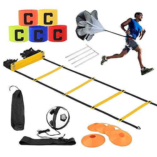 Koordinationsleitern für Fußball, Speed & Agility Trainingsset ,trainingsleiter,Premium Agility Leiter und Kegel,Resistance Fallschirm, Metallnägel & Tragetasche,Trainingsgürtel,Sport armband