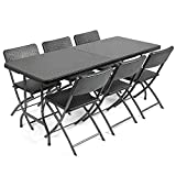 CHRISTOW Rattan Effect Garden Furniture Set Folding 6ft Dining Table 6 Chairs