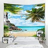 Tapiz decorativo de paisaje de árbol de coco junto al mar en 3D, manta Art Deco...