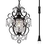Riomasee Plug in Chandelier Mini Bronze Chandeliers 1 Light Elegant Chandelier Crystal Iron Ceiling Light Fixture for Bedroom,Girls Room,Bathroom