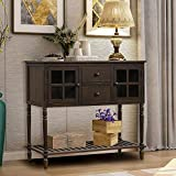 Wood Console Sofa Table with Drawers and Bottom Shelf, Storage Buffet Sideboard Cabinet for Kitchen/Entryway Side Table for Living Room (Brown)
